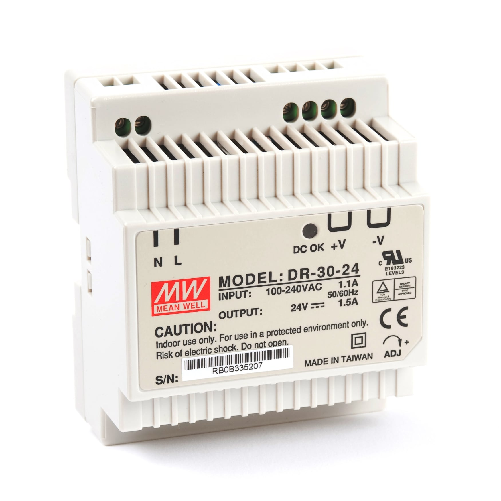 MW Mean Well DR-30-24 24V 1.25A 30W Single Output Industrial DIN RAIL Power Supply