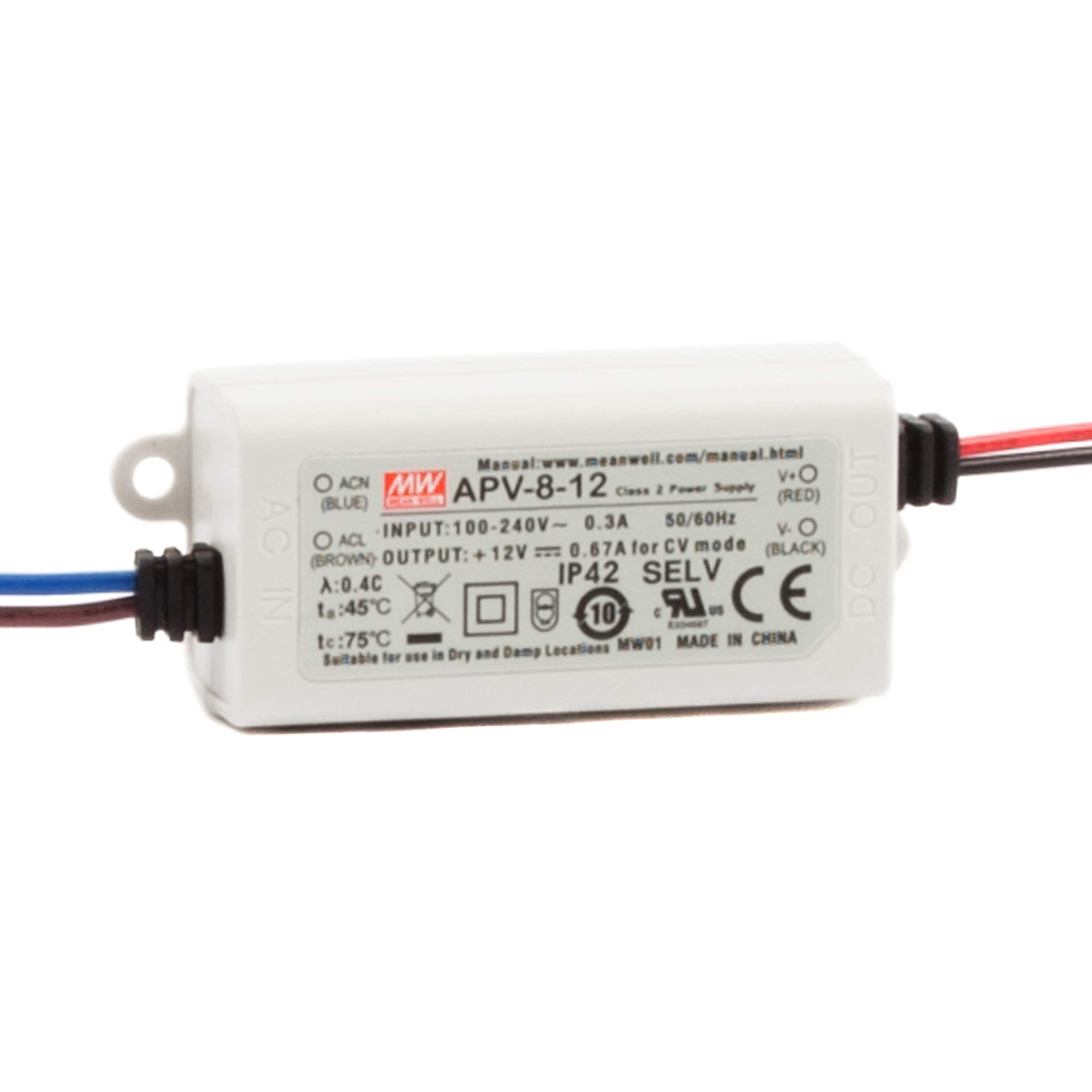 APV 8 Watt LED Power Supply to IP42 (12~24V DC)